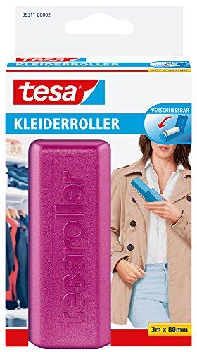 Tesa 05311-00002-04 - Pack de 1 cepillos quitapelusa para ropa (3 m x 80 mm), color rosa, amarillo y azul