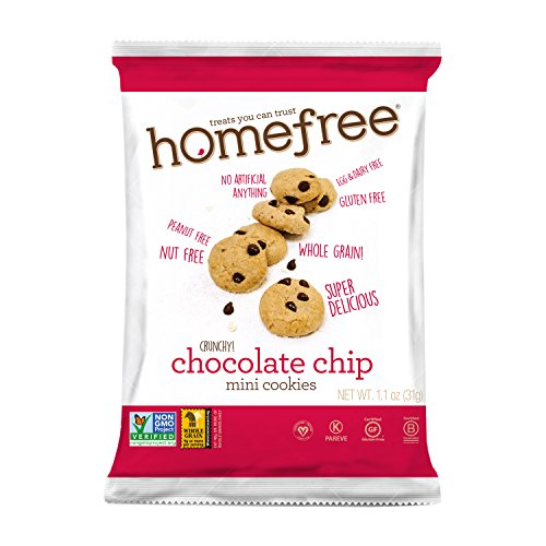 Homefree Treats You Can Trust Gluten Free Mini Cookies, Single Serve, Chocolate Chip, 1.1 Ounce (Pack of 10)