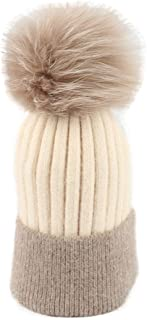 Easier ZUO Women's Knitted Cashmere Hat Patchwork Pompon Chunky Winter Warm Sreetchy Beanies