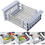 Expandable Dish Drying Rack Over Sink Stainless Steel Adjustable Dish Basket Drainer with Telescopic Arms Functional Kitchen Sink Organizer for Vegetable, Fruit and Tableware (1Pack)
