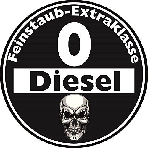 Aufkleber Feinstaub Umwelt Plakette Diesel Schwarz für die Innenscheibe 2 Stück JDM Tuning Fun Lustig Auto LKW Sticker Autoaufkleber Fahrverbot Umweltzone
