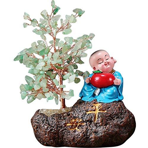 Ornamento de Escritorio Pantalla de Cristal Natural Feng Shui del árbol del dinero Bonsai estilo de decoración for la abundancia y la suerte de la sala la decoración del hogar del coche regalo artesan