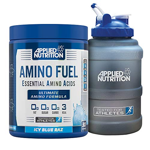 Applied Nutrition Bundle Amino Fuel 390g + 2.5 Litre Water Jug   Essential Amino Acid EAA Powder Supplement for Muscle Growth, 11g Aminos Per Serving with BCAAs (ICY Blue Raz)
