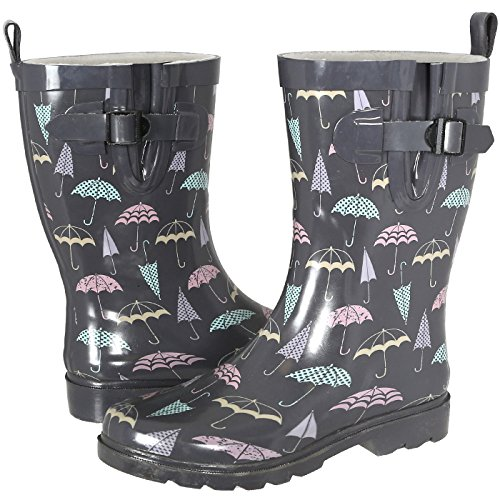 Capelli New York Ladies Shiny Umbrella Mid-Calf Rain Boot Grey Combo 9