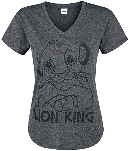 Der König der Löwen Le Roi Lion Simba Femme T-Shirt Manches Courtes Gris Sombre chiné XL