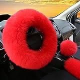 3Pcs Set Womens Winter Fashion Wool Fur Soft Furry Steering Wheel Covers Red Fluffy Handbrake Cover Gear Shift Cover Fuzz Warm Non-slip Car Decoration Long Hair