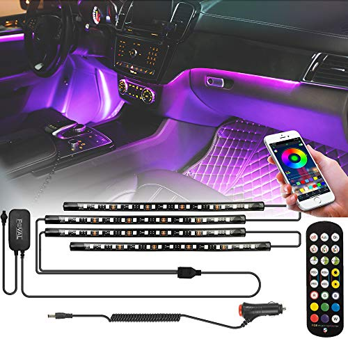 FOVAL Car Interior Lights , 60 LED(30×2, 2-line) APP Controller Car LED Strip Lights, Multicolor Music Under Dash Lighting Kits Remote Control for iPhone Android Phone, Car Charger Included, DC 12V