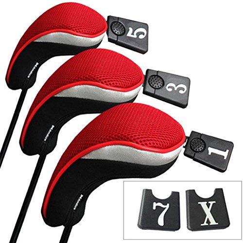 Andux Set Golf 460cc Holzkopfabdeckungen für Golfschläger mit langem Hals und austauschbarer Nummer, 3 Stück Anhänger, 3Stück, schwarz/rot MEHRWEG