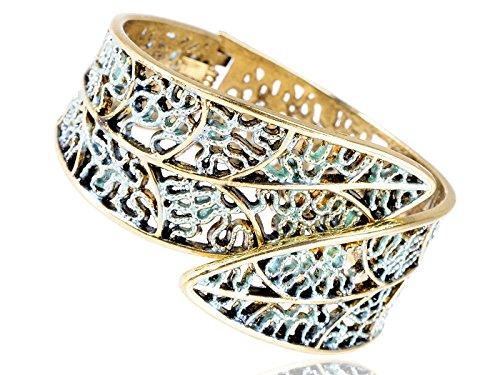 ALILANG Damen Antique Golden Kompliziert Geschnitzte Federblatt Armreif Manschette Armband