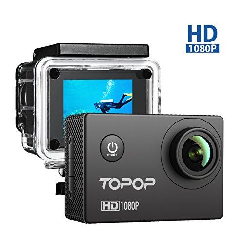 Topop Action Kamera 12MP Full HD 1080p Action Cam 2.0 Zoll LCD Display 170 Grad Weitwinkel Fisheye Linse 30m Tiefe wasserdicht Helmkamera mit Zubehör Kits