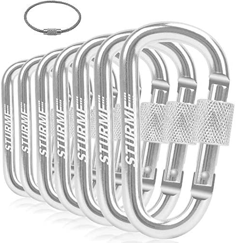 STURME Carabiner Clip 3 Aluminum D Ring Locking Durable Strong and Light Large Carabiners Clip product image