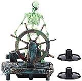 WYL Estatua Decoración de acuarios Realista Resina Pirata Capitán Esqueleto Peces Tanque Paisaje Decoración
