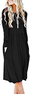 AUSELILY Women's Long Sleeve Pockets Empire Waist Pleated Loose Swing Casual Flare Dress
