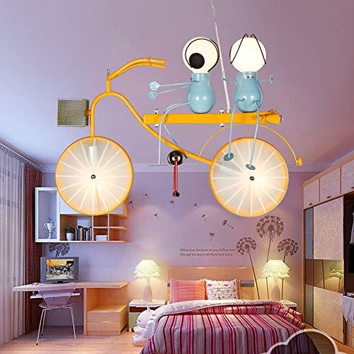 Modern Gelb Kinderlampe Fahrrad kreative dekorative Licht, Kinderzimmer Pendelleuchte Höhenverstellbar LED Pendellampe Personalisierte Hängeleuchte für Kinderzimmer Schlafzimmer E14*2+E27 * 2,B