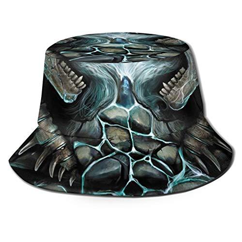 TYUO Sombrero de pescador gtico, llamando, diseo de calavera en llama, lomo, para pesca al aire libre, camping, color negro