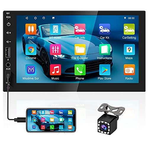 2021 New Double Din Stereo Touch Screen 7 Inch Android Car Video Audio Receiver Bluetooth Car Radio with SD Card/Aux-in/4 USB Port Support WiFi+GPS+FM, Subwoofer, Mirror Link, Backup Camera + SWC
