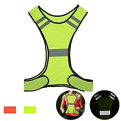 Reflective Night Running Vest with Adjustable Strap & Breathable Holes, Ultrathin Lightweight Safety Vest with 360° High Visibility for Running, Jogging, Cycling, Hiking, Walking, Yellow