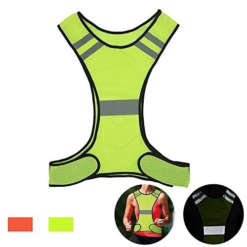 AUOON Reflective Night Running Vest with Adjustable Strap & Breathable Holes, Ultrathin Lightweight Safety Vest with 360° High Visibility for Running, Jogging, Cycling, Hiking, Walking, Yellow