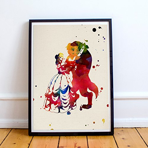 Nacnic Lámina para enmarcar La Bella y la Bestia Tamaño 24x30. Posters de películas Infantiles a Estilo Acuarela