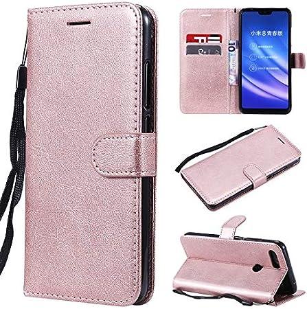 HHF Teléfono móvil Accesorios para Xiaomi Mi 8 Lite, Funda con Soporte de Cuero sólido Billetera con Tapa y Correa de muñeca (Color : Rose Gold)