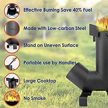 Réchaud de camping StarBlue avec sac de transport GRATUIT - Réchaud portable à bois avec grande chambre à combustible, idéal pour la cuisine en plein air, pique-niques, barbecues, chasse et pêche