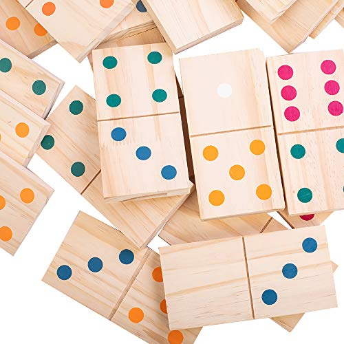 28-Piece Giant Outdoor Dominoes with Colorful Dots, 5.9 x 2.95 Inches Natural Wooden Oversized Tiles for Outdoor Lawn Yard Games