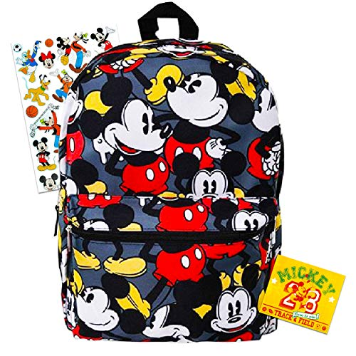Mickey Mouse Backpack for Kids Adults ~ Deluxe 16' Mickey Backpack with All-Over Print and Stickers (Mickey School Supplies Bundle)