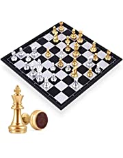 Mumoo Bear Travel Chess Board Set Games - Magnetic Chess Piece with Portable/Foldable Board- Educational Toys For Kid/Children/Adults -Gold/Silver Chess Piece -Traditional Game Gift