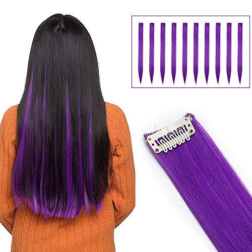 Haarverlängerungen Clip Bunte Haarsträhnen Regenbogen Farbiger Haarteil Extensions 10 pcs Glatt Dark Purprle Glatt-10pcs-80g