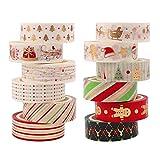 12 Rollos Set Washi Tape Navidad,Gold Foil Tape decorativo Cinta adhesiva de enmascarado Scrapbooking Cinta adhesiva para manualidades DIY Decoración de Navidad Festivales Envoltura de regalos