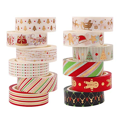 12 Rolls Washi Tape Set Christmas,Gold Foil Decorative Tape Masking Scrapbooking Tape Sticky Tape for DIY Crafts Xmas Decoration Festivals Gift Wrapping Party Favor Supplies