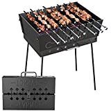 """Charcoal Grill for 8 Skewers - Portable Barbecue 16,9""""×11,8""""×23,6"""" - Stainless Steel Kabob Camp Grills - Black Foldable Mangal - Kebab Shish - BBQ for EDC Picnic Outdoor Cooking Camping Hiking"""