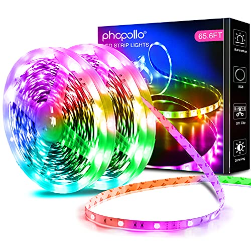 PHOPOLLO Led Lights 65.6ft Long Led Strip Lights for Bedroom Color Changing Luces Led para Decoracion Habitacion RGB DIY Color Option with Power Supply and Remote
