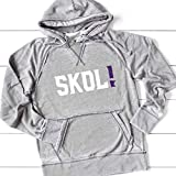 SKOL! Vikings Hoodie Unisex Men's Women's Minnesota Football Sparkly or Matte Soft Lightweight Hooded Sweatshirt, Light Gray