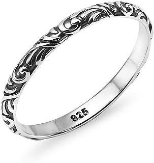 مجوهرات Silverline - خاتم دقيق من الفضة الاسترلينية 925 بتصميم ملتف مزين بحلية حلزونية من الفضة الاسترلينية، مقاس 6-9