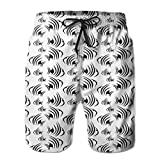 DHNKW Swimming Shorts Funny Printed,Monochrome Abstract Subaquatic Animalia Concept Minimalism Inspirations Aquarium,Quick Dry Beach Board Trunks with Mesh Lining,XX-Large