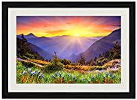 秋の風景日の出 (N006) 自然風景 壁掛け黒色木製フレーム装飾画 絵画 ポスター 壁画(35x50cm)