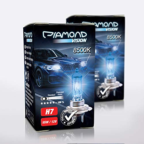 2x H7 12V 55W Xenon Look Effekt Halogen Lampen Birnen Licht Optik von Diamond Vision Super White 8500k Longlife Nightbreaker E-Prüfzeichen 100% Passgenauigkeit Abblendlicht Fernlicht PX26D
