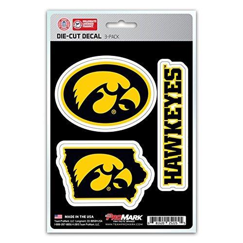 NCAA Iowa Hawkeyes Team Decal, 3-Pack