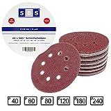 SBS - 60 dischi abrasivi a 8 fori, per levigatrice eccentrica, diametro: 125 mm, grana: 10...