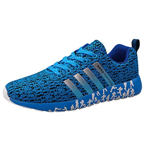SHOBDW Homme Femme Air Baskets Chaussures Gym Fitness Sport Sneakers Style Running Multicolore Respirante Outdoor Casual Baskets (Bleu,45)