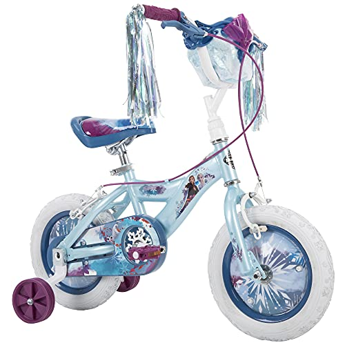 Huffy Disney Frozen 2 12 Inch Girl's Bike with Training Wheels, Streamers & Basket, Quick Connect Assembly