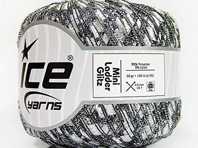 Silver-White Mini Ladder Glitz Ribbon Yarn - Metallic Sparkle 50 Gram