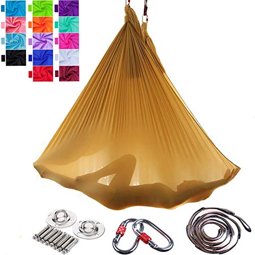 Viktion Authentisch 5m*2.8m Anti-Gravity-Yoga Set Fitness Aerial Yoga Tuch Hängematte für Inversionsübung Pilates Gymnastik Belastbarkeit bis 900kg (Gold)