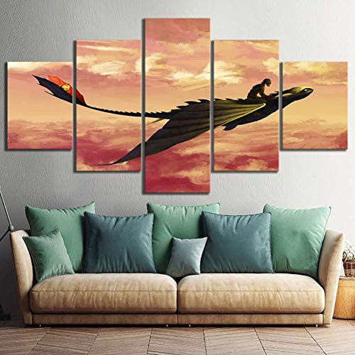 WFUBY Hd Prints Picture 5 Pcs How to Train Your Dragon Movie Modular Painting Poster Canvas Living Room Home Decoration-30x40x2 30x60x2 30x80cm