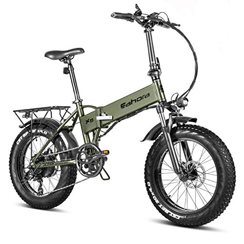 Eahora X5 20 Inch Fat Tire Foldable E-Bike 500W Off-Road Electric Mountain Bicycles 500W Hub Motor 48V 10.4Ah Adult Electric Bike Snow Bicycle Ebike with Power Assist and 7-Speed Gear Shifts