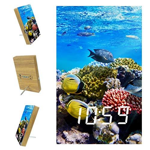 EZIOLY Pescados Mar Reloj despertador digital subacuático Pantalla de tiempo Temperatura Fecha LED Resina de madera USB/batería Control de sonido Suministro Ahorro de energía para dormitorio Oficina