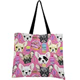 visesunny Women's Large Canvas Tote Shoulder Bag French Bulldog Macarons Top Storage Handle Shopping Bag Casual Reusable Tote Bag for Beach,Travel,Groceries,Books