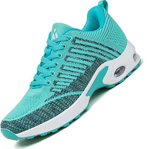 Mishansha Air Zapatos de Running Mujer Antideslizante Zapatillas de Deportes Femenino Ligeros Calzado Jogging Gimnasio Sneakers Verde, Gr.36 EU