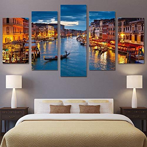 Canvasdruk 5 panelen Venetië water stad boot licht landschap modulaire poster moderne muurkunst foto's wooncultuur (maat 1 geen frame).